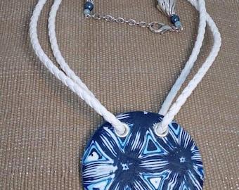 Polymer clay pendant necklace, blue white pendant, circle pendant necklace