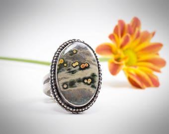 Ocean Jasper Ring, Artisan Made Ocean Jasper Ring, Large Boho Ring, Sterling Silver Jasper Ring, Metalsmith Ring, Metalsmith Statement Ring