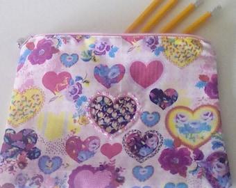Hand embellished pencil case, brush case, cosmetics bag