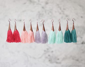 MAGGIE | SPRING copper & tassel earrings