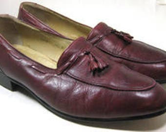 VIGEVANO 10.5D Wine Burgundy Leather Loafers Hand Crafted Custom RARE Classic