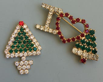 Vintage 2pc lot petit Christmas brooches