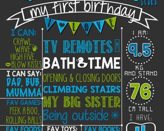 Whale first birthday chalkboard poster | Sea creatures  Sea life Fishes Jelly fish | Aqua Blue Green |  DIGITAL FILE - PRINTABLE