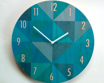Objectify Teal Grid Wall Clock With Numerals - Large