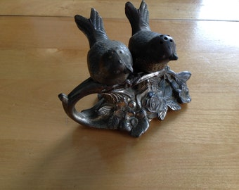 Victorian silver plated Weidlich Bros Love Birds Salt & Pepper Shakers