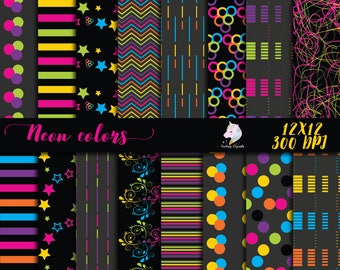 Neon paper pack, neon digital paper, colorful backgrounds, neon party decor, fluoro scrapbook, fluorescent stripes, printable stars, abstrac