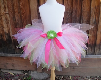 Summer Fairy Lime Green and Pink Pixie Cut Sewn Tutu Costume Set