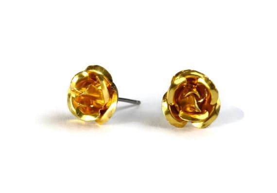 Dark yellow aluminum rose flower hypoallergenic studs earrings (233)
