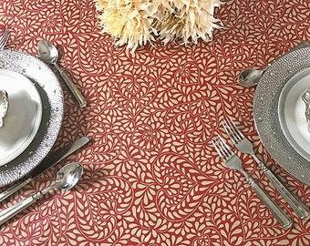 "72 - 120"" Rectangle or Oval Laminated Easycare TableCloth Arles in Burgundy - Extra Wide up to 115"" wild available -Umbrella Hole available"