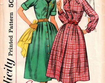 1950s Simplicity 2184 Vintage Sewing Pattern Misses Shirtwaist Dress, Full Skirt Dress, Monogram Dress Size 14 Bust 34, Size 16 Bust 36