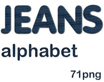 Digital Denim Alphabet, Blue Jeans Alphabet,  Printable Lettering, Instant Download, #36