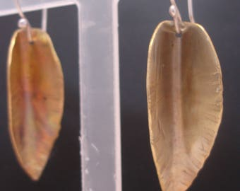 Brass Leaf Quirky Mixed Metal Art Earrings Handmade One of a Kind by Sujati