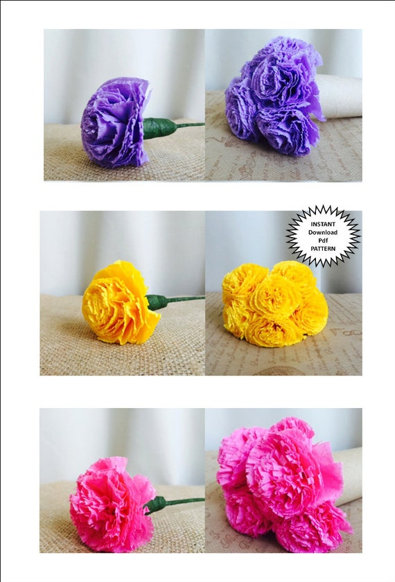 Paper Craft Pdf Pattern DIY Flowers Tutorial Instructions Carnation Wedding Flower Bouquet Party Decor Home