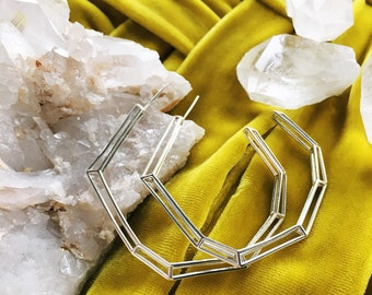 Crystal Inspired Wire Frame Hoop Earrings