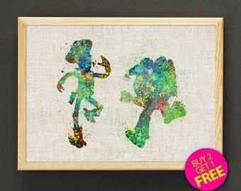 Woody and Buzz Watercolor Art Print Disney Toy Story Poster House Wear Wall Decor Gift Linen Print - Buy 2 Get FREE - 22s2g