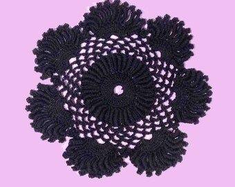 """Black Round Doily-6 1/2"""" Dimensional Doily-Available in different colors-Made to order"""