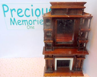Vintage, Dollhouse wooden fireplace with mirrored shelf, knick knack shelf, dollhouse furniture, dollhouse living room,  It is 1:12 scale