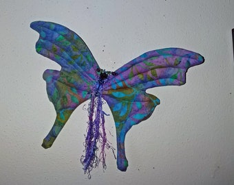 Whimsical fabric sculpted butterfly wall accent, Swarovski crystal body