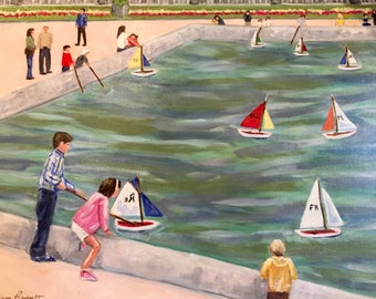 "Original Oil Painting ""Pond Boats at Luxembourg Gardens"" 16 x 20.  ***Free Shipping!***"
