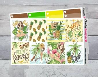 Summer Stickers, Summer Planner Stickers, Erin Condren Vertical Stickers, Summer Weekly Kit, Summer Sticker Kit, Full Box Stickers, Stickers