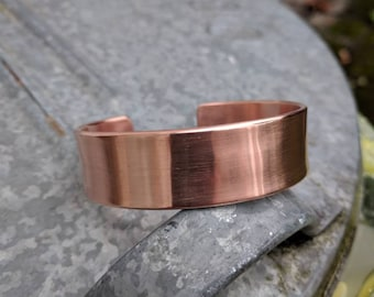 Handmade custom made wide copper bangle bracelet