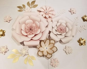 Ivory, gold, pink and beige paper flower set