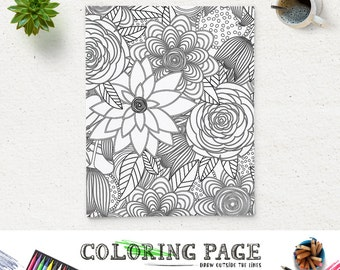 SALE Coloring Page Printable Floral Pattern Adult Printable Coloring Book Adult AntiStress Art Therapy Instant Download Zen Coloring Art