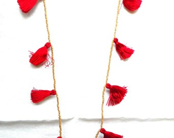 Red Tassel Necklace | Summer Tassel Necklace | Multi Tassel Necklace | Long Seed Bead Necklace | Long Tassel Necklace | Tassel Jewelry