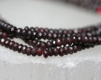Rich Red Garnet Faceted Rondelles / 3 mm, Gemstone,  Strand, Beads, Natural, Semi Precious, DIY Jewelry, Necklace, Bracelet, Earrings