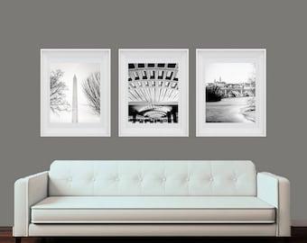 Washington DC, Art, Set of 3, Black and White Photography, Capitol, Lincoln Memorial, Union Station, Washington DC Print Set, DC Wall Decor
