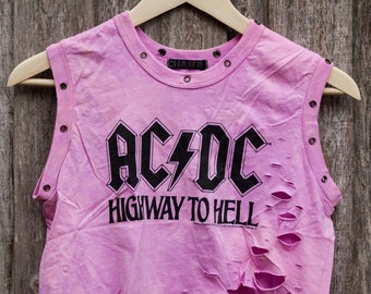 ACDC - Distressed shirt - Custom band shirt - Reworked band tee - Bleached shirt - Shredded Dreams - Small