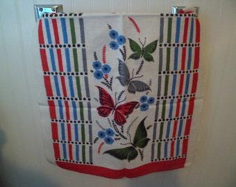 Vintage Startex Kitchen Tea Dish Towel Table Runner Butterflies and Flowers