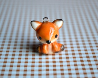 Orange Fox Animal Charm - Kawaii Polymer Clay