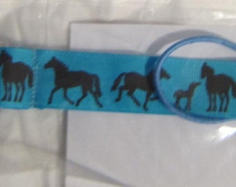Handmade Horse Pacifier Clip Horses on Turquoise Color Grosgrain Ribbon
