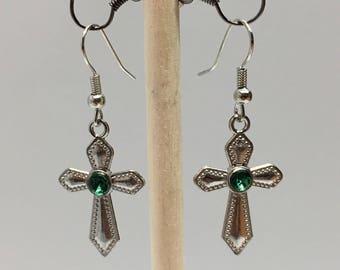 Emerald Green Crystal Cross Earrings