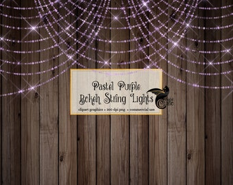 Pastel Purple Bokeh Sparkling String Lights - Digital Overlay PNG Fairy Lights, wedding lights, purple baby shower, glitter shimmer sparkle