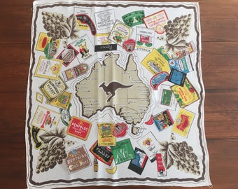 Map table cloth etsy vintage australian table cloth map of australia with wine labels kangaroo gumiabroncs Image collections