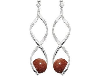 Earrings swirl silver plated - synthetic Sunstone (goldstone)