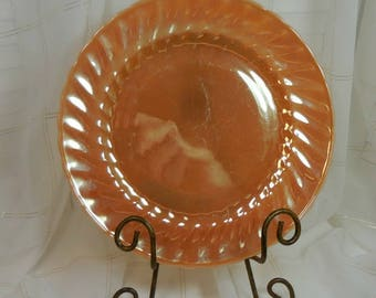 Anchor Hocking Vintage Plate - Iridescent Bubble Glass - Orange - Keepsake -