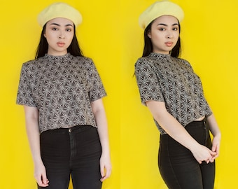One of a Kind Geometric Grey Cropped Tee S-M