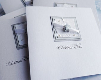 Pack of 6 Handmade Christmas Cards for Dad, Husband, Son, Grandad, Wife 'Silver Night'