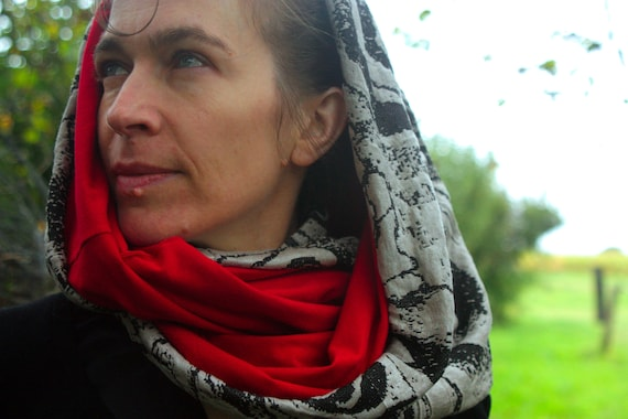 Shawl/cowl neck scarf black with flowers, red Jersey cotton lining