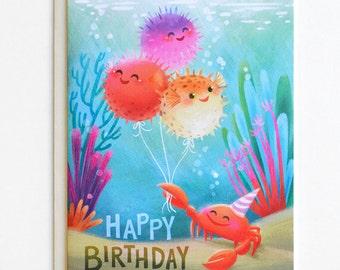 Blowfish Birthday Card - Happy Birthday Card, Kids Birthday Card, Cute Birthday Card, Sea Birthday, Children's Birthday