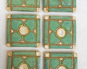 Handmade Decorative  Mosaic Ceramic Tiles Dogwood Pattern Grouted set of 6 Mint Green - Mosaic tiles - Craft Tiles