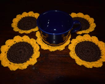 Sunflower coaster, mug rug, sunflower mug rug, crochet sunflower, kitchen decorations, coasters, crochet coasters