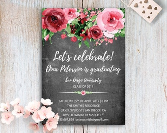 Graduation Announcement Floral Graduation Invitation Graduation Party Invitations Graduation Announcement Invitation Chalkboard Invite PDF