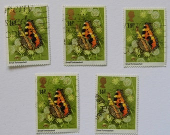 5 x Small Tortoiseshell Butterfly 14p Stamps - British - All Same - Postage Stamps - Used - Vintage