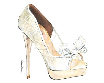Watercolor Shoe Print - White Peep-Toe