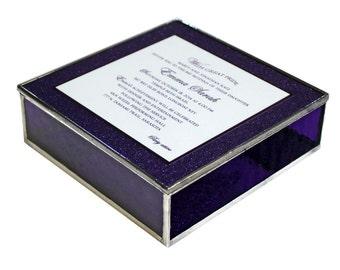 Coffret cadeau vitrail souvenir Bat Mitzvah Invitation en violet