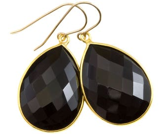 Black Onyx Earrings Sterling Silver or 14k Gold Filled Smooth Puffed Bezeled Teardrop Dangle Simple Design Classic Simple Neutral Large Drop